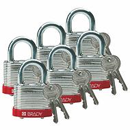 贝迪钢锁,0.75英寸锁梁,锁芯互异,红色,6/包