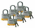 贝迪钢锁,0.75英寸锁梁,锁芯互异,黄色,6/包