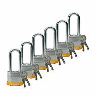 贝迪钢锁,2英寸锁梁,锁芯互异,黄色,6/包