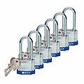贝迪钢锁,2英寸锁梁,锁芯互异,蓝色,6/包