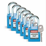 贝迪安全挂锁,1.5英寸锁梁,锁芯互异,蓝色,6/包