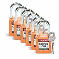 贝迪安全挂锁,1.5英寸锁梁,锁芯互异,橙色,6/包