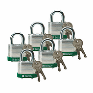 贝迪钢锁,0.75英寸锁梁,锁芯互异,绿色,6/包