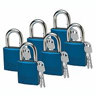 贝迪铝锁,1英寸锁梁,锁芯互异,蓝色,6/包