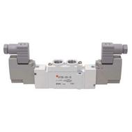 SMC电磁阀,两位五通双电控,DIN插座式(带插头),DC24V,SY5220-5DZD-01