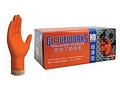 橙色丁腈手套,无粉,掌麻